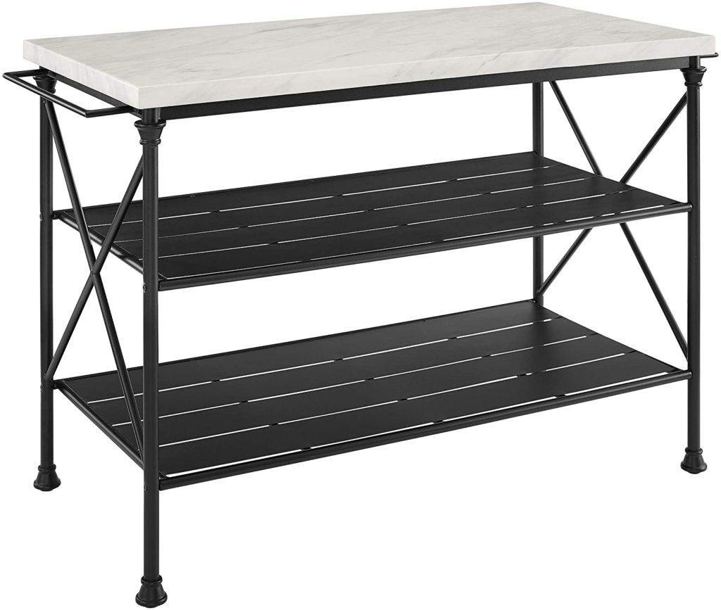 Crosley Furniture Madeleine black metal kitchen island with a faux marble top