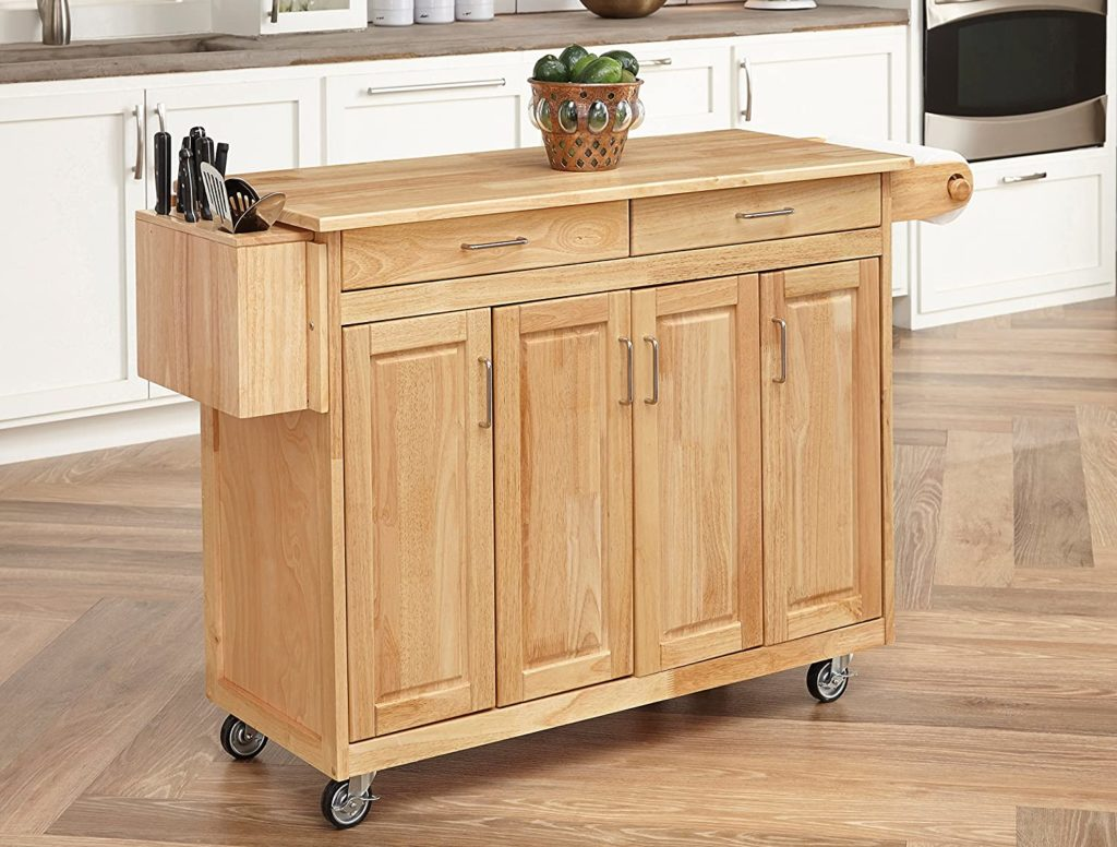 Home Styles Kitchen Center freestanding kitchen island made of sustainable hardwood with 3 cabinets and 2 drawers