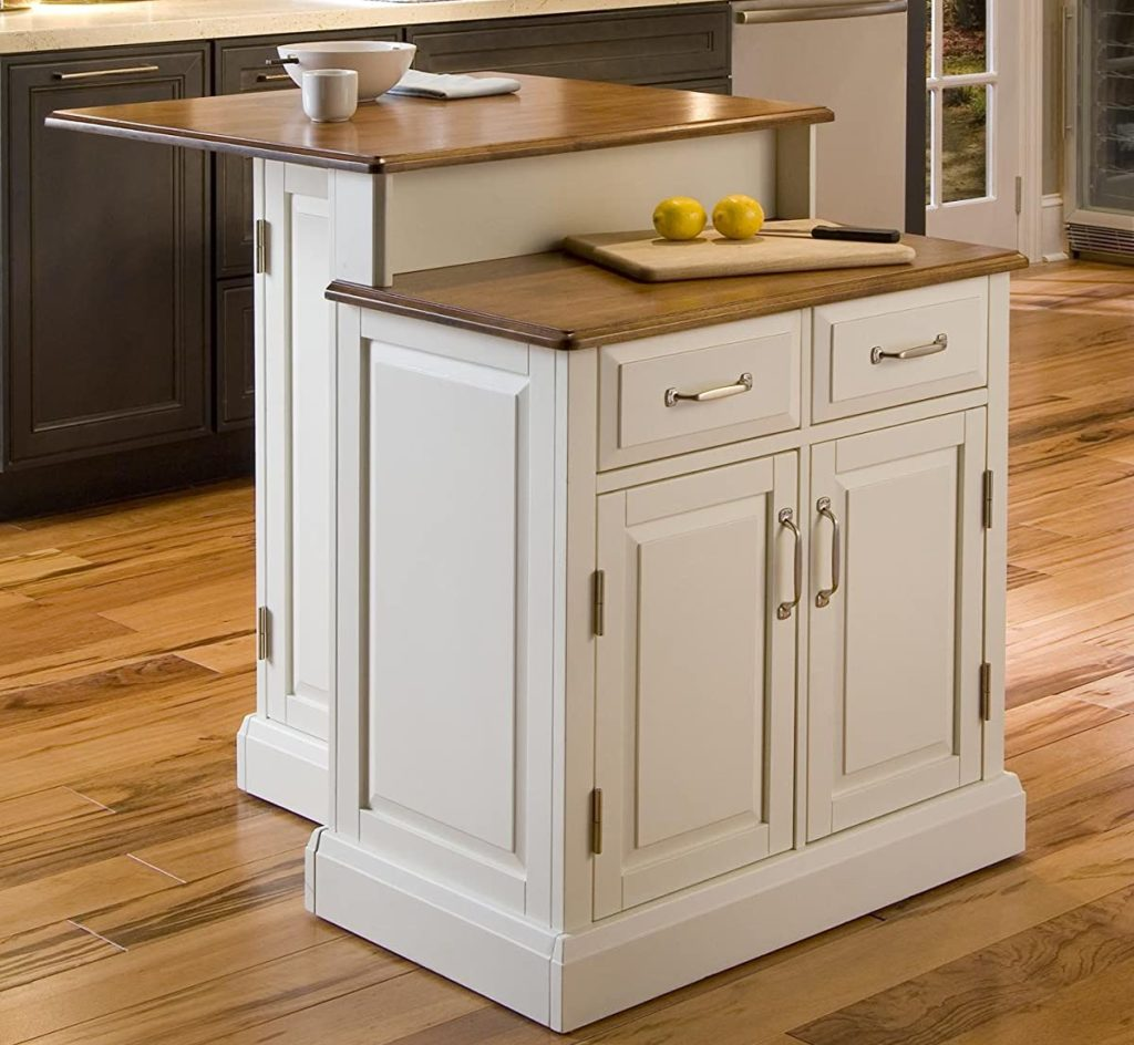 Home Styles Woodbridge compact freestanding kitchen island in a white finish with honey oak top