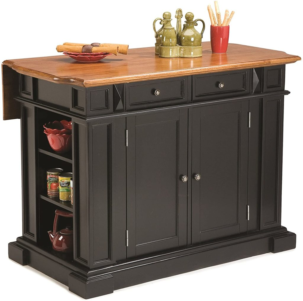 Black freestanding kitchen island with a drop-leaf countertop