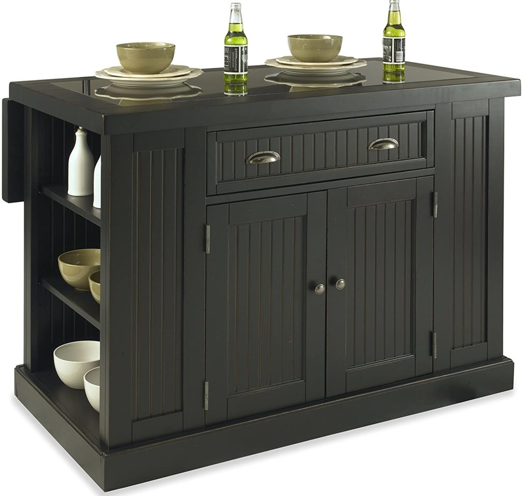 Home Styles Nantucket distressed black freestanding kitchen island with a large cabinet, side shelves, and black granite inlay top top