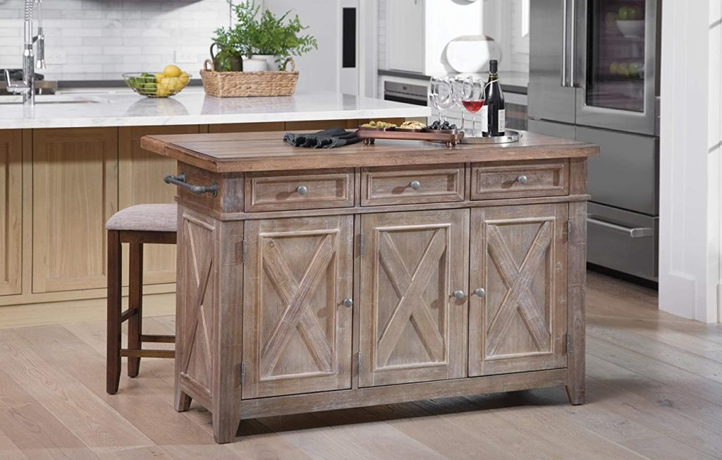 OSP Home Furnishings Cocina freestanding kitchen island in a rustic farmhouse finish