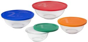 Pyrex Smart Essentials 8-Piece Mixing Bowl Set with lids in various colors