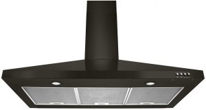 Whirlpool WVW53UC0HV black wall mount range hood