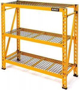 DEWALT 4-Foot Tall, 3-Shelf Yellow Steel Wire Deck Storage Rack