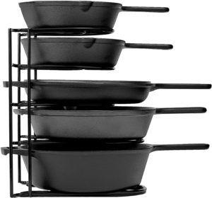 Heavy duty cast iron pan storage rack