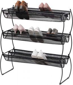 Umbra Imelda Stackable Shoe Storage Rack with black vinyl mesh and slim metal frame