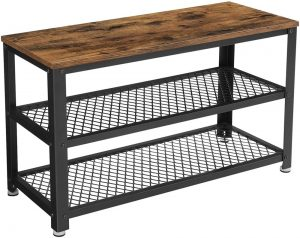 VASAGLE Bryce rustic storage bench with two shoe storage trays and a black metal frame