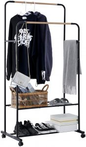 YOUDENOVA rolling clothing rack on wheels with a black steel frame and two garment racks