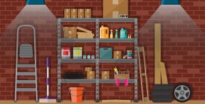 Basement with storage shelves against a red brick wall