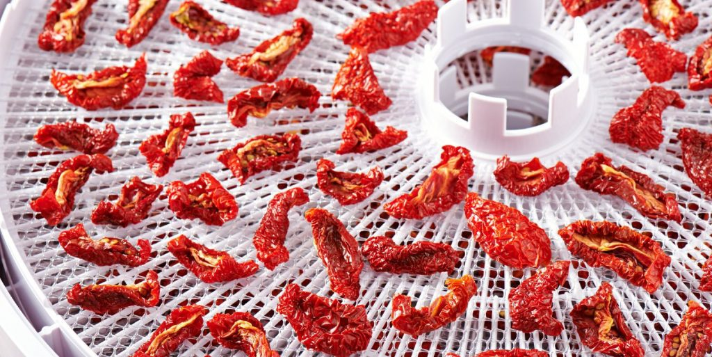 Dehydrated tomatoes on a white food dehydrator tray