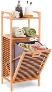Giantex Laundry Hamper with a slim bamboo design and top shelves