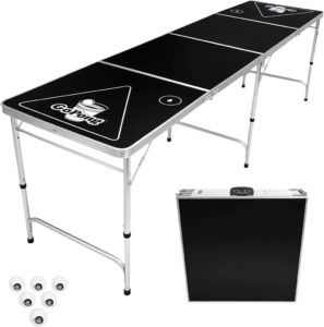 GoPong 8-Foot Portable Beer Pong Table with a black top that folds into a suitcase