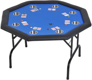 Soozier 3.9-foot Octagon Poker Table for up to 8 players with cup holders and folding metal legs