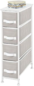 mDesign Narrow Vertical Dresser Storage Tower with a white metal frame and gray drawers
