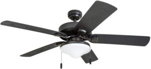 "Honeywell Belmar Outdoor LED Ceiling Fan with LED Light, Waterproof, Damp-Rated, 52"" Dark Gray"