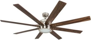 "Honeywell 50608-01 Xerxes Ceiling Fan with Remote Control, 62"" Blades, Brushed Nickel With Eight Large Blades"