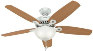 "Hunter Builder Deluxe Indoor Ceiling Fan with LED Light and Pull Chain Control, 52"", Wooden Blades"