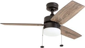 "Prominence Home 51015 Reston Farmhouse Ceiling Fan, 42"", Bronze With Bright Light"