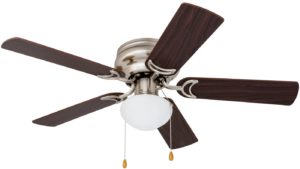Prominence Home 80029-01 Alvina Led Globe Light Hugger/Low Profile Ceiling Fan, 42 inches, Satin Nickel With White Light and Wooden Blades
