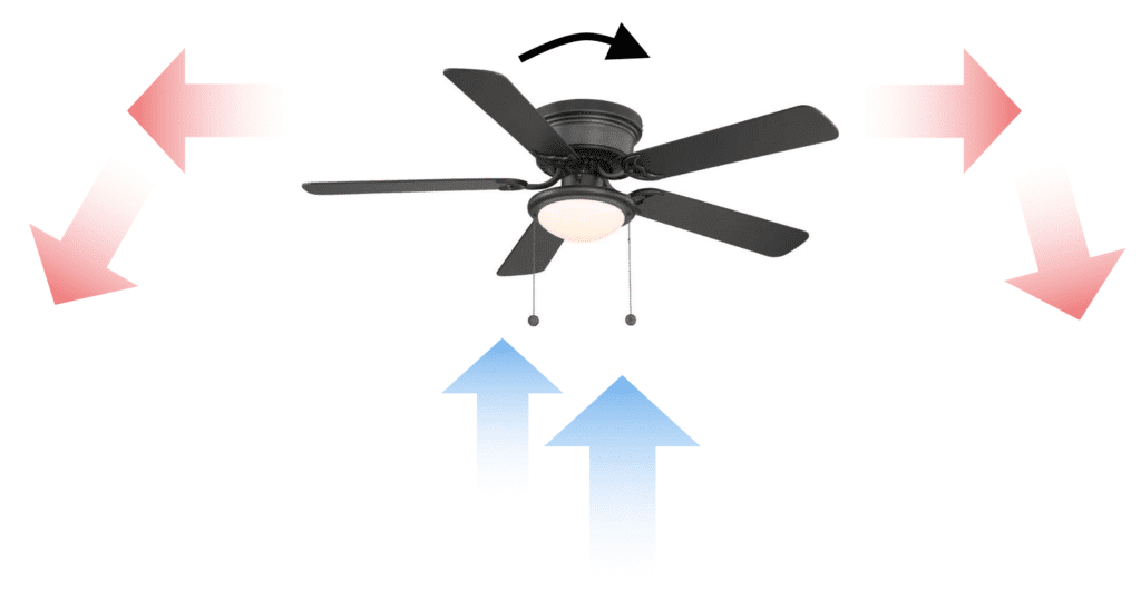 Ceiling fan running in clockwise direction during winter
