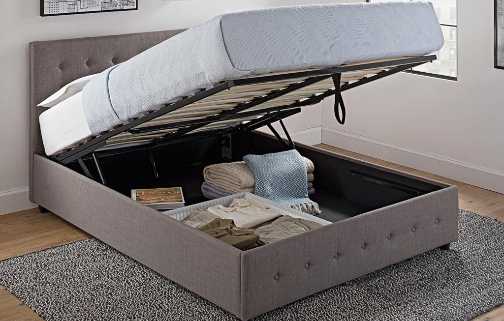 DHP Cambridge Upholstered Platform Bed with large storage compartment
