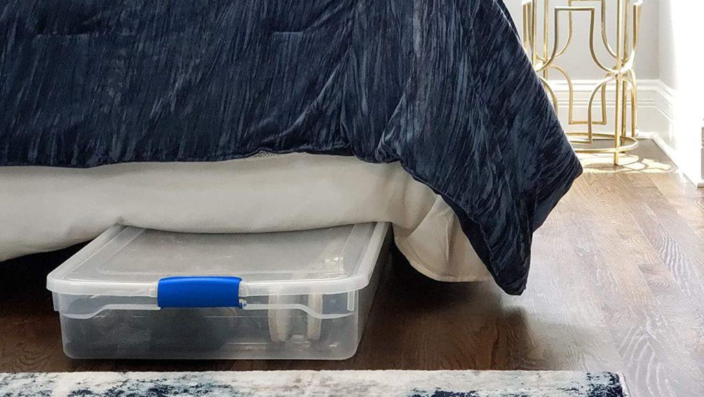 Homz Plastic Underbed Storage Bin with latching handles and wheels