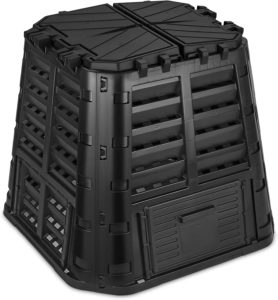 Black garden composter bin made of recycled plastic
