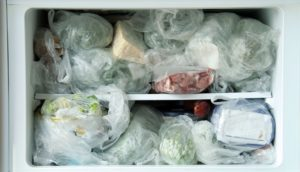 Cluttered freezer compartment
