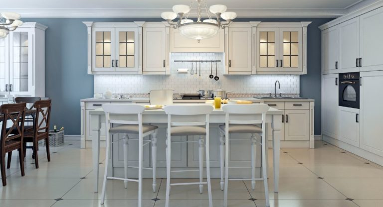 Stylish elegant kitchen with blue, gray and cream color combinations