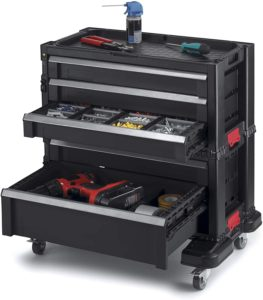 Keter Rolling Tool Chest With Storage Drawers, Black Metal