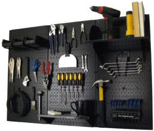 Pegboard Organizer Wall, black toolboard with black storage boxes and shelves