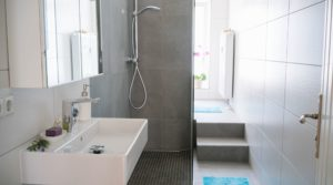 Doorless shower design in a small bathroom with gray tiles