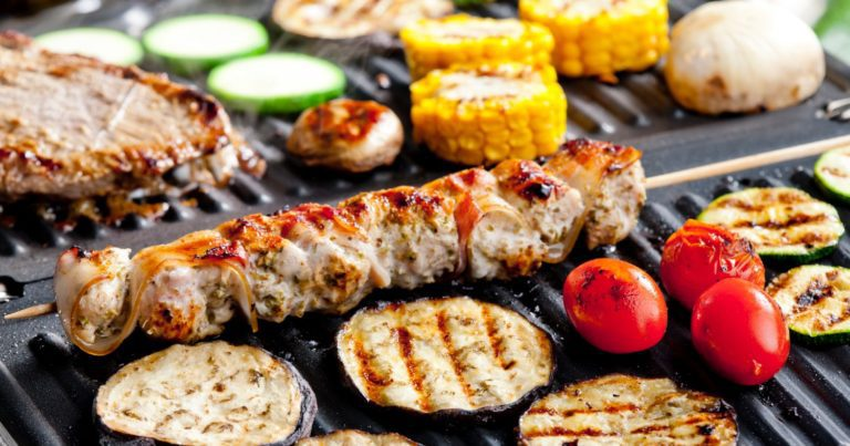Cooking food with delicious sear marks on an electric grill