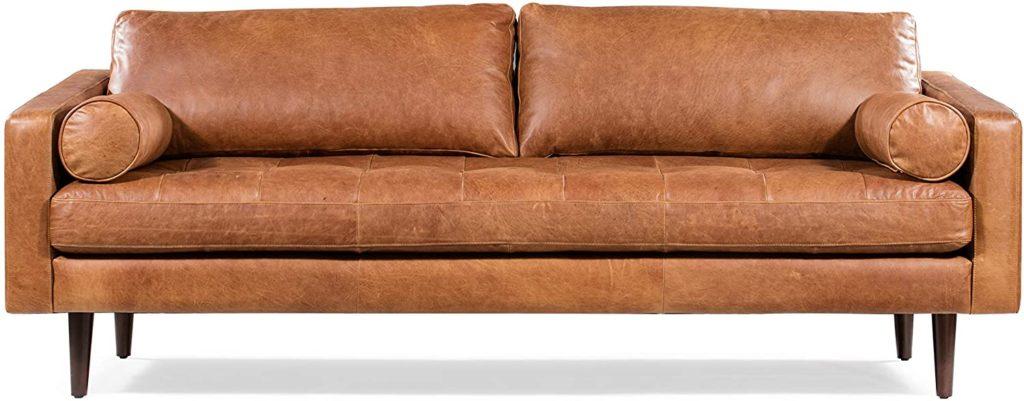 3-person leather sofa in a cognac tan