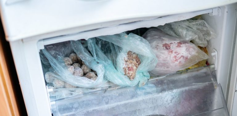 Contents of a freezer that isn't closing properly