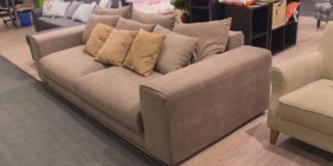Different sofas on display in a furniture store