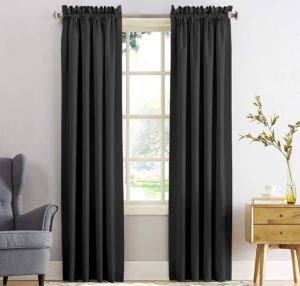 Black floor-to-ceiling curtains