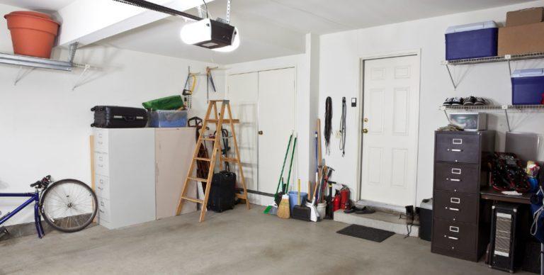 Large garage full of personal belongings