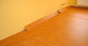 Linoleum flooring during home renovation
