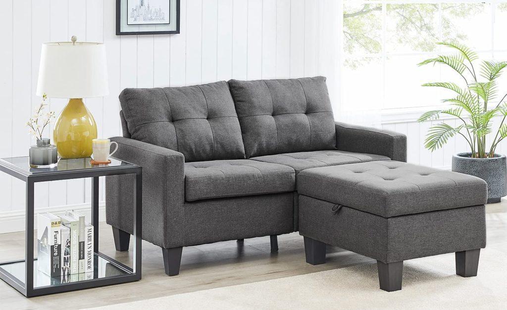 Stylish loveseat sofa with a storage ottoman