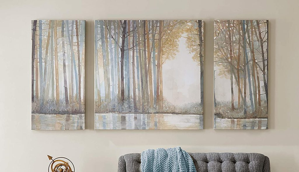 Canvas paintings of Madison Park on a beige wall