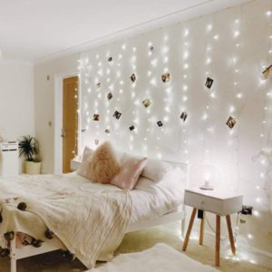 Wall mounted LED fairy lights in the bedroom