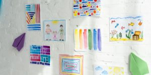 Beautiful and cute drawings on a white wall